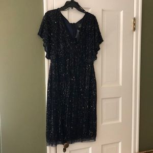 Adrianna Papell Navy Sequin Straight Waist Dress